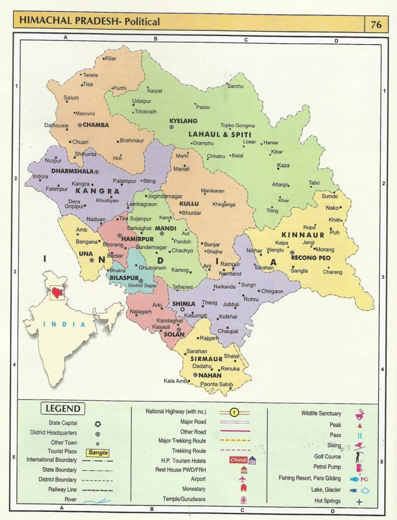 Himachal Tourist Route Map
